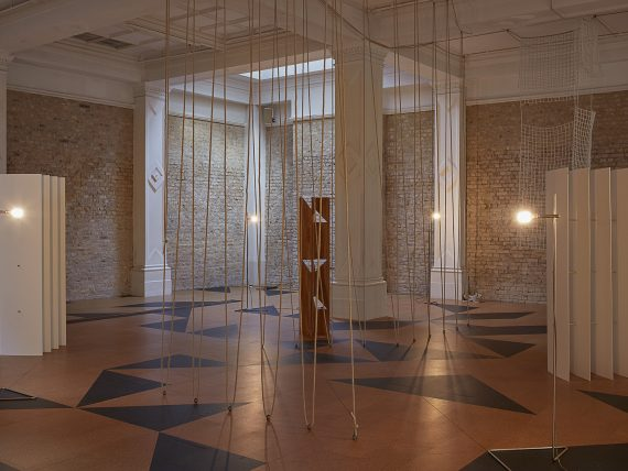 Installation view at the Whitechapel Gallery. Leonor Antunes: the frisson of the togetherness, Gallery 2. 3 October 2017 – 8 April 2018. Photo: Nick Ash