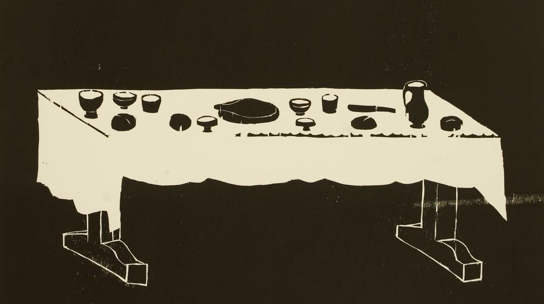 Andrea Büttner Table, 2010 woodcut on paper 147 x 142cm Edition of 10 Courtesy of Hollybush Gardens and Andrea Büttner.