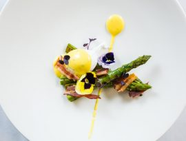 The London Kitchen English Chargrilled Asparagus with a Warm Poached Egg and a Chive Hollandaise Sauce, Topped with Crispy Pancetta