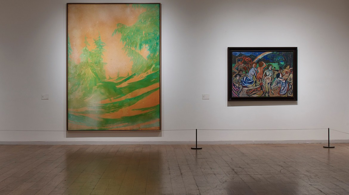 Installation view, Peter Doig 'Green Trees' (pictured left)
