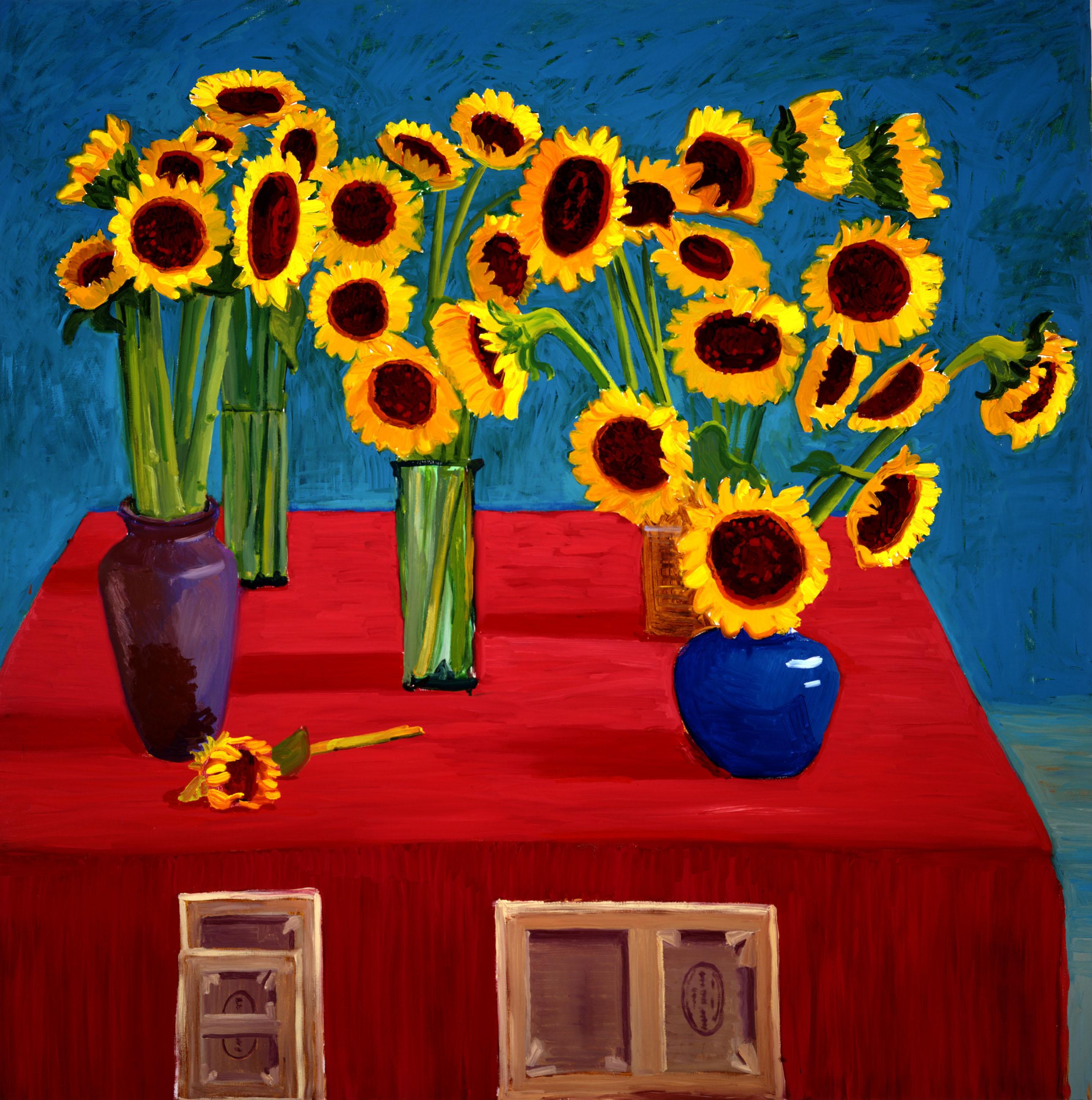 David Hockney, 30 Sunflowers (1996), Oil on canvas, 72 x 72 inches © David Hockney, Photo Credit: Richard Schmidt