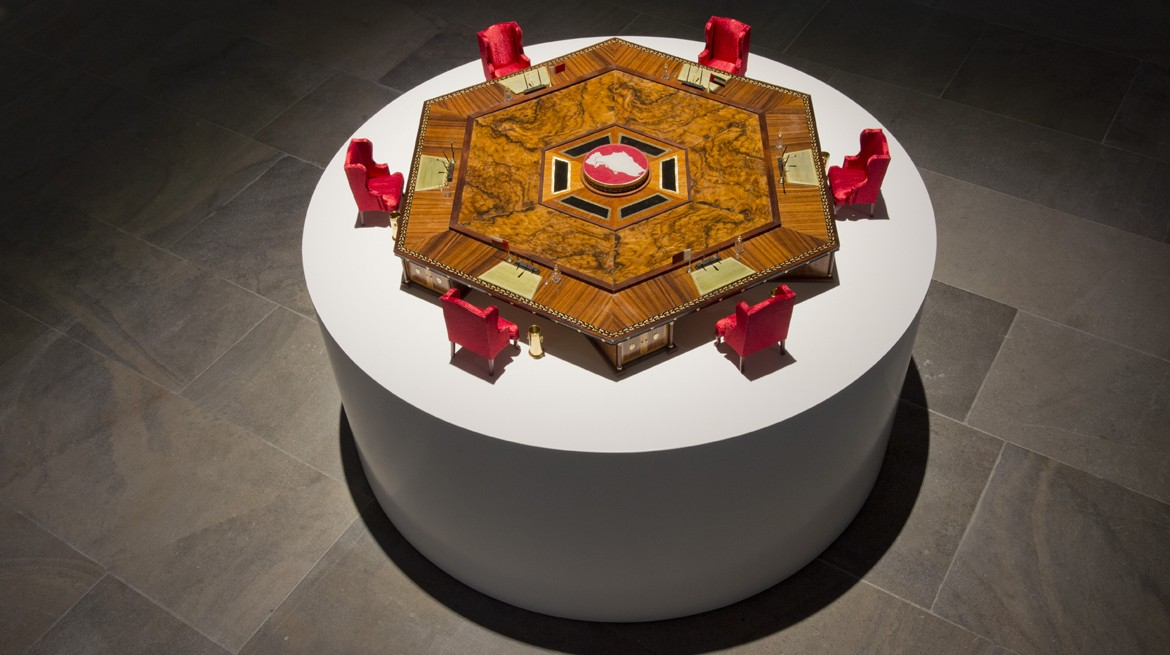 GCC Collective, Micro Council, 2013, Wood, brass, acrylic glass, glass web