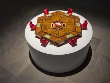 GCC Collective, Micro Council, 2013, Wood, brass, acrylic glass, glass web