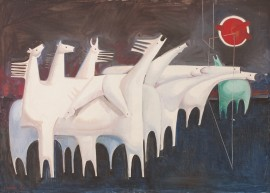 Kadhim Hayder, Fatigued Ten Horses Converse with Nothing, 1965, Oil on canvas