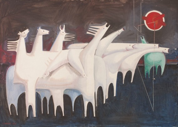 Kadhim Hayder, Fatigued Ten Horses Converse with Nothing (The Martyrs Epic), (1965), Oil on canvas, 95 x 130 x 3.5 cm, Barjeel Art Foundation, Sharjah.
