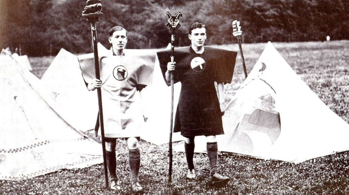 Kibbo Kift Kindred members at camp, 1928.  Courtesy of Judge Smith, Kibbo Kift Foundation.