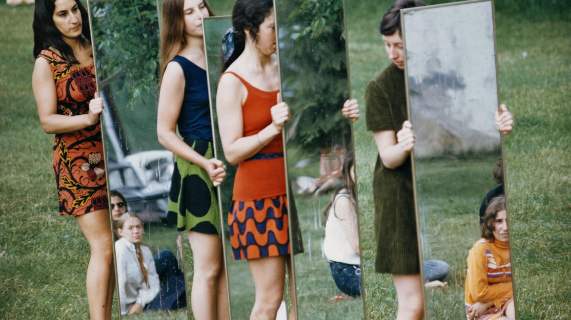 A photo of performers holding mirrors for Joan Jonas' 1969 work 'Mirror Piece 1'