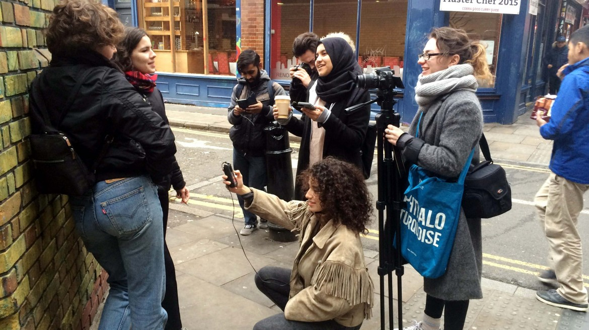 Whitechapel Gallery youth group Duchamp & Sons on Brick Lane filming