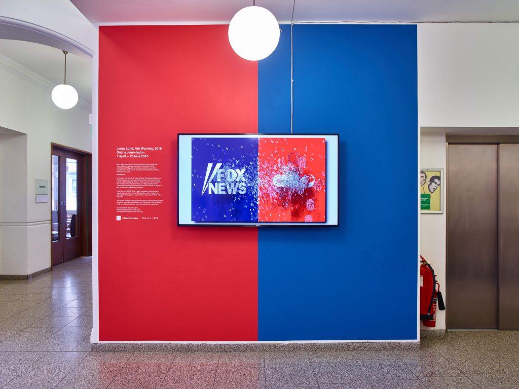 Jonas Lund, Fair Warning (2016), Installation View at Whitechapel Gallery