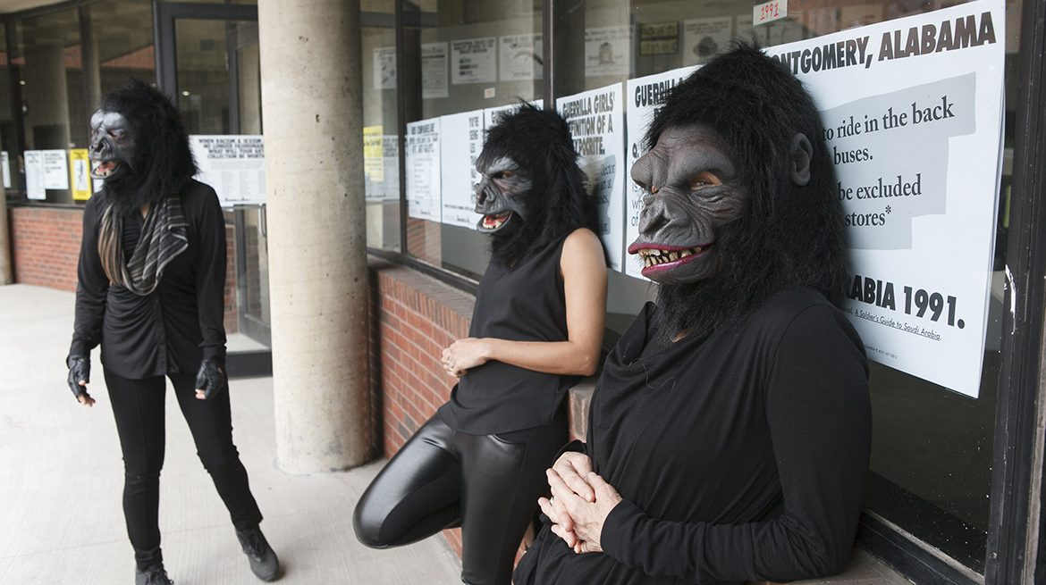 "Guerrilla Girls artists Kathe Kollwitz, Zubeida Agha and Frida Kahlo during a press preview for an exhibition of works by the Guerrilla Girls titled ""Not Ready To Make Nice: 30 Years And Still Counting,"" at the Abrams Art Center, 466 Grand St, New York, NY on Thursday, April 30, 2015. Photograph by Andrew Hinderaker"