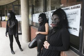 """Guerrilla Girls artists Kathe Kollwitz, Zubeida Agha and Frida Kahlo during a press preview for an exhibition of works by the Guerrilla Girls titled """"Not Ready To Make Nice: 30 Years And Still Counting,"""" at the Abrams Art Center, 466 Grand St, New York, NY on Thursday, April 30, 2015. Photograph by Andrew Hinderaker"""