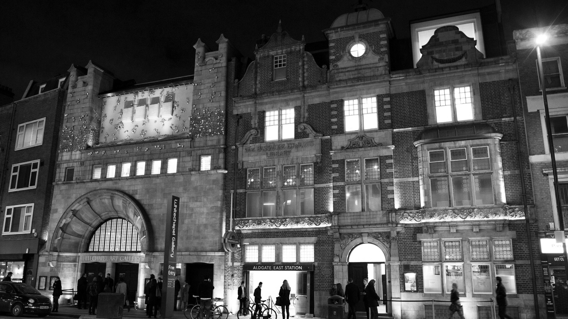 Whitechapel Gallery at night - Photo Marcus Dawes 1 b&w