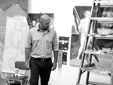 Peter Doig in his New York Studio, 2013. Courtesy Michael Werner Gallery