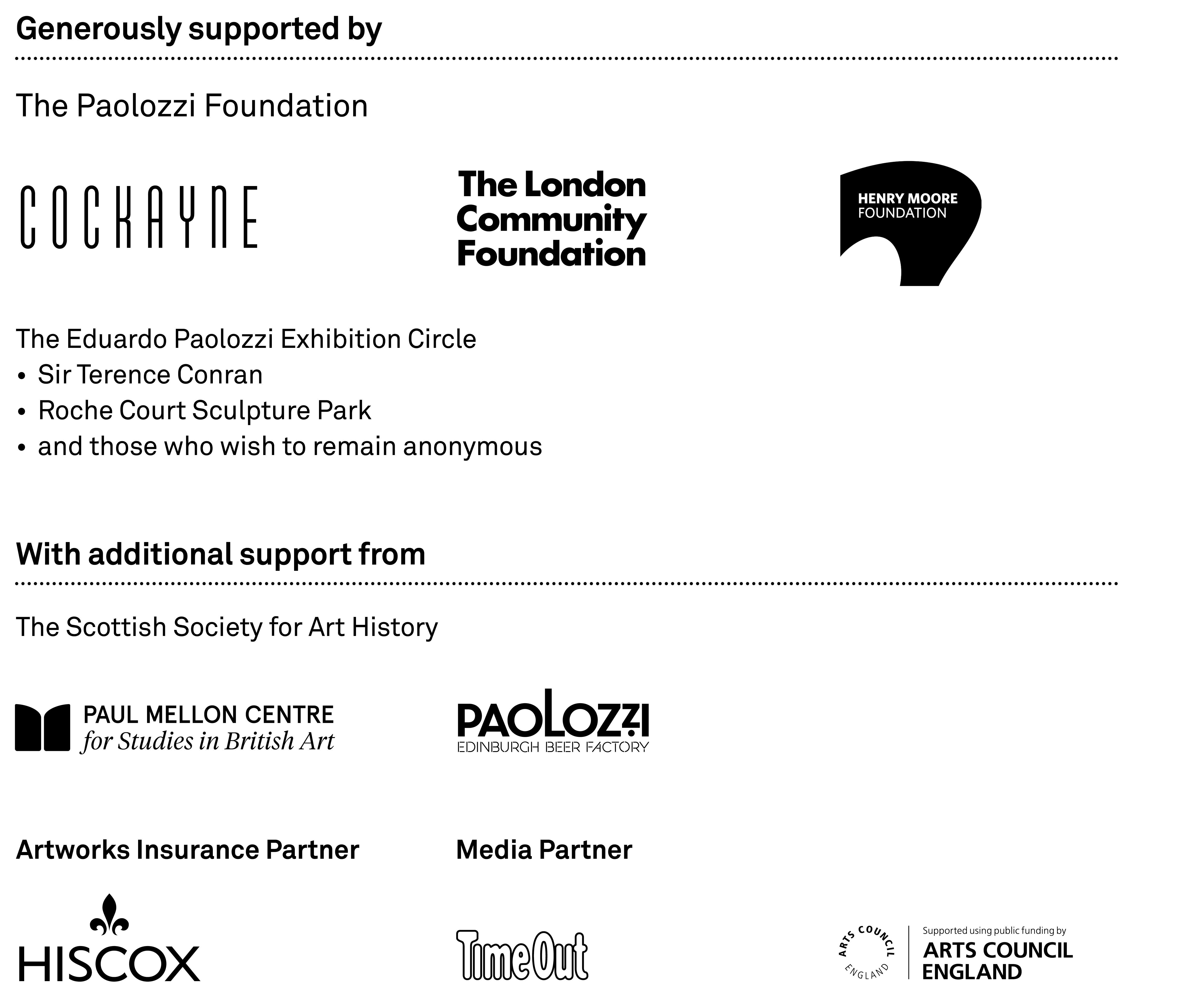 Eduardo Paolozzi at Whitechapel Gallery, Media Partners & Sponsors