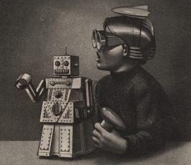 Detail of Eduardo Paolozzi, Le Robot Robert Voulait Aller a New York Mais Le Passenger Est Trop Lourd, 1971