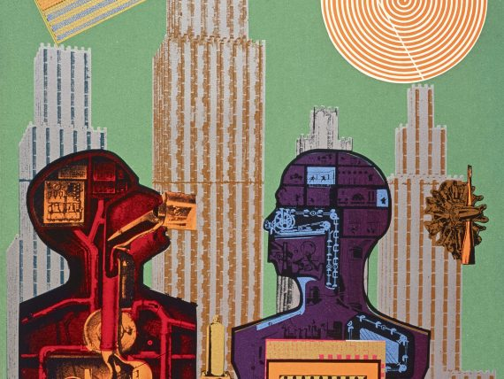 A detail from Eduardo Paolozzi, Wittgenstein in New York (from the series As is When), 1965. This is a screen-print on paper. The outline of two busts face each other in profile, their insides made up of machinery. The figure on the right is purple and blue while the one on the left is red and orange and tilts its head slightly upwards. Behind, skyscrapers emerge against a green backdrop.