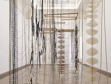 Installation view of Leonor Antunes: the last days in Chimalistac, Kunsthalle Basel, Basel, 2013.