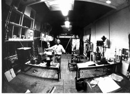 Bruce Lacey studio at Martello Street studios, early '70s, photo c. Inge…