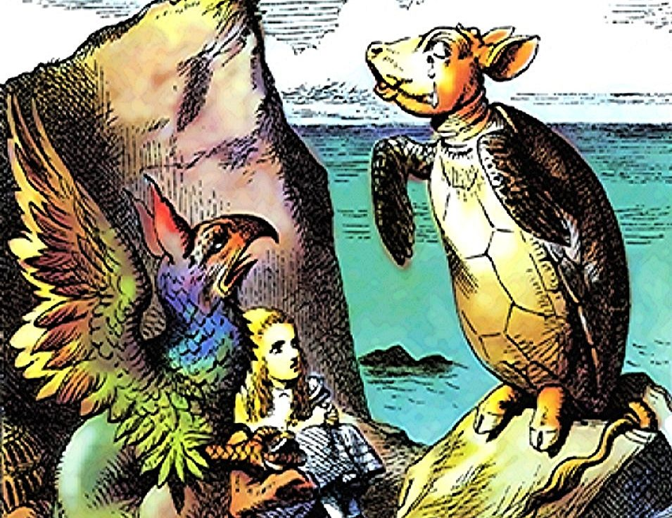 Mock Turtle, Gryphon, and Alice, Sir John Tenniel 1, colourised, public domain