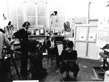 Dibb Pic with David Hockney drawing Celia Birtwell for Seeing Through Drawing 1976
